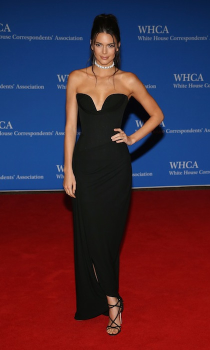 Kendall Jenner dazzled in a simple black gown with a diamond choker to complete the look.