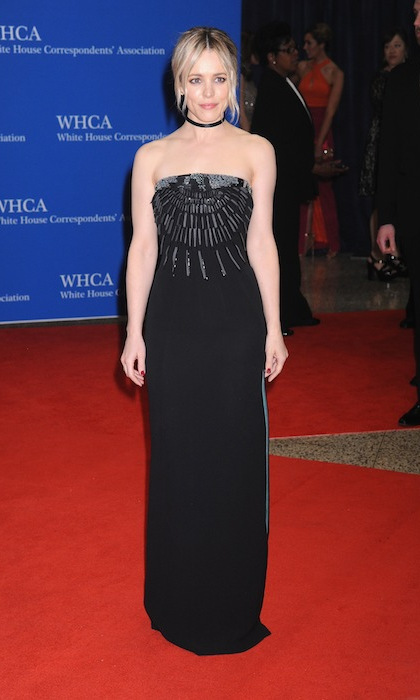 Rachel McAdams accessorized her Armani column gown with a simple black choker necklace. 