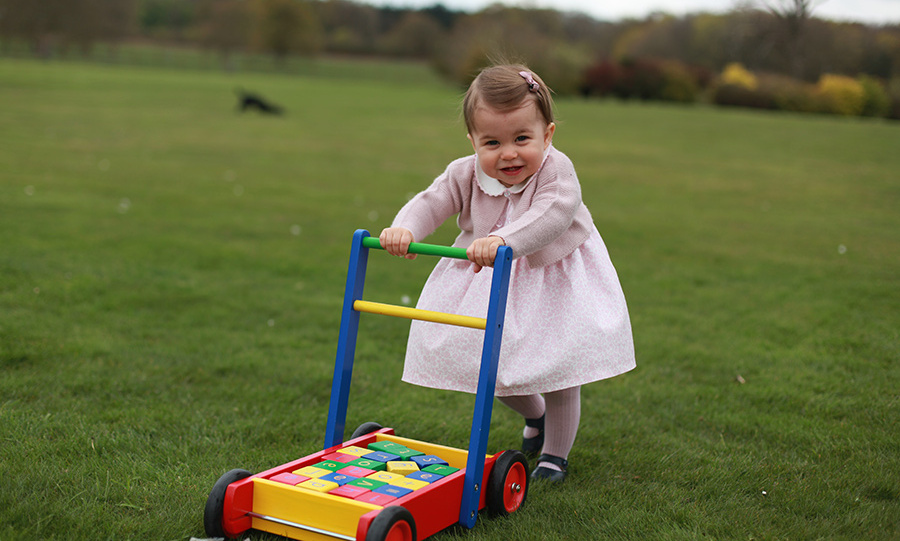 In another photo from Kate's series for Princess Charlotte first birthday on May 2, the toddler shows off her walking skills - with the help of a pushable toy!