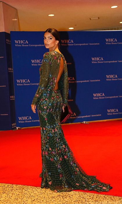 Emily Ratajkowski stole the show in a semi sheer embroidered floral gown.