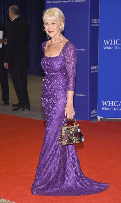 Helen Mirren was a classic beauty in a lace purple gown.