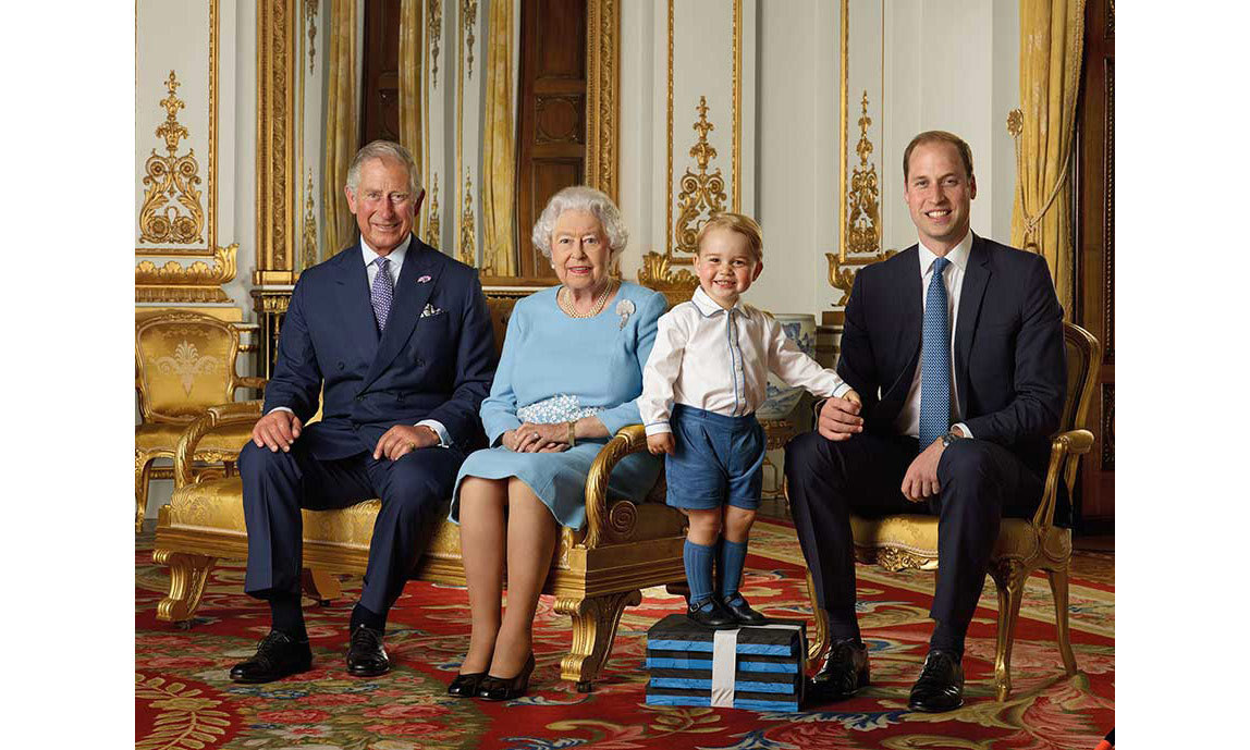 Prince George posed for a portrait with his great grandmother, grandfather and father.