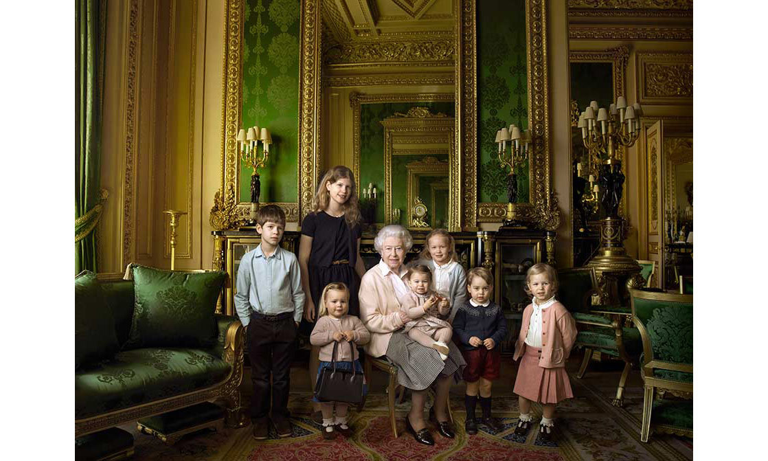 Prince George appeared in a portrait with his cousins and great grandmother for the Queen's 90th birthday.