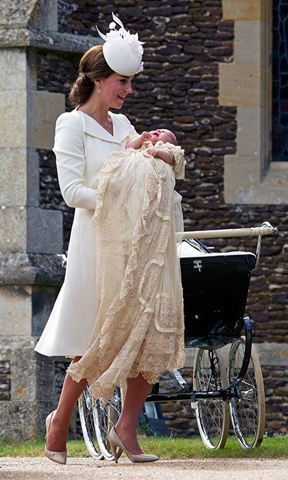 For her christening, the fifth-in-line to the British throne wore brother Prince George's hand-me-down gown, a replica of a more-than-170-year-old royal heirloom. The original has quite a history of its own: William wore it in 1982, after his father Prince Charles in 1948 and Queen Elizabeth II in 1926.<br>Photo: © Getty Images