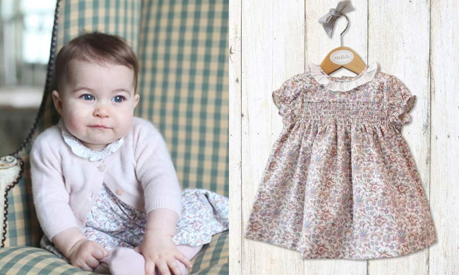 The young royal looked pretty in pink for her first solo portraits, released in December 2015. In the cute snaps, taken by mom Kate, the little girl wore a floral dress from Spanish shop m&h. The dress retails for $42.<br>Photo: © Getty Images/mhtiendas.com