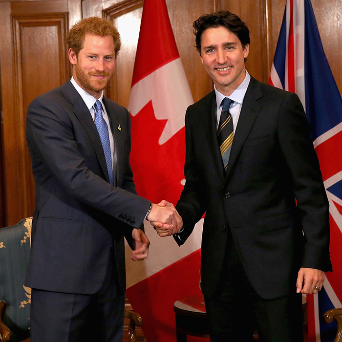 Prince Harry shakes hands with Canadian Prime Minister Justin Trudeau as he attends a bilateral meeting at the Royal York Hotel in Toronto. The royal is in Canada for the launch of the 2017 Toronto Invictus Games before heading down to Florida for the 2016 Invictus Games in Orlando. <br>Photo: © Chris Jackson/Getty Images