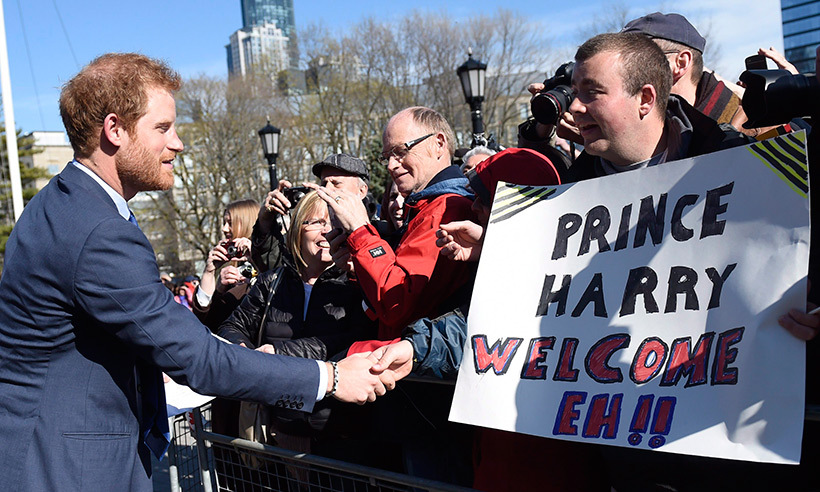 Harry greets fans outside of Queen's Park in Toronto.<br>Photo: © Nathan Denette/CP
