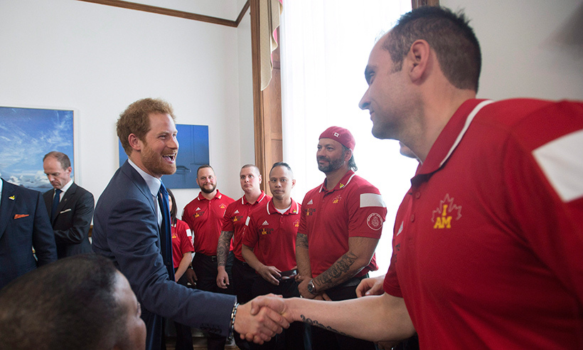 The Canadian Invictus Games team were thrilled to meet the games' founder prior to heading to Orlando on May 4.<br>Photo: © Nathan Denette/CP