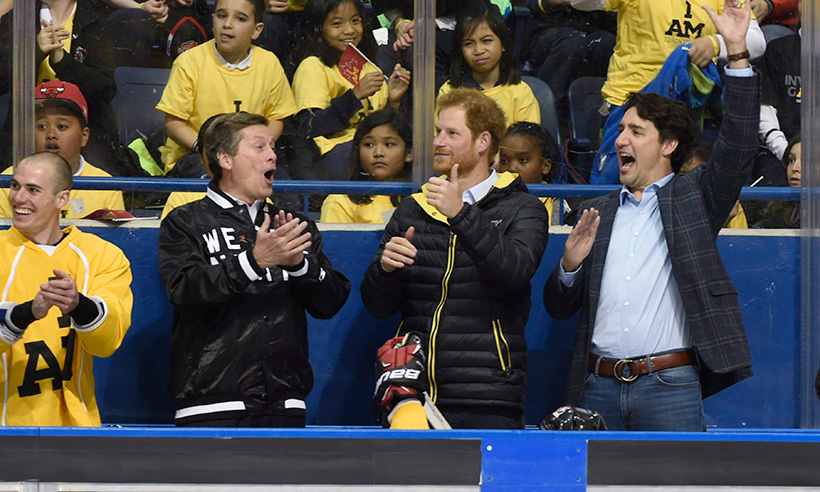 It looks like Canada's national sledge hockey team found new fans in Prince Harry, John Tory (L) and Prime Minister Justin Trudeau.<br>Photo: © Nathan Denette/CP