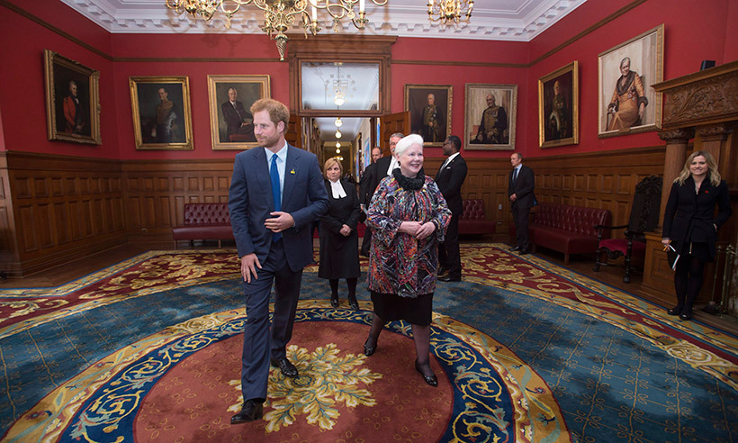 Before finishing up his busy day, Prince Harry dropped by Queen's Park to visit with Ontario's Lieutenant Governor Elizabeth Dowdeswell.<br>Photo: © Nathan Denette/CP