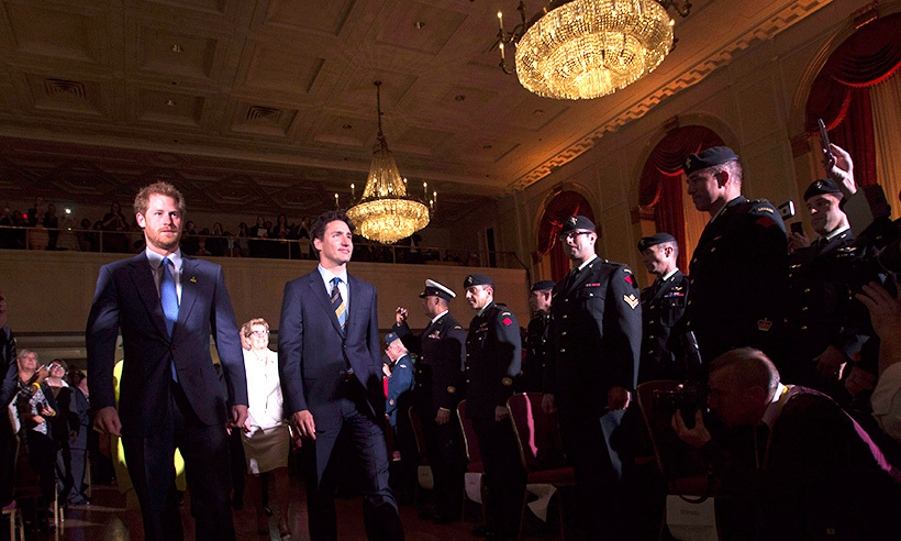 Prince Harry and Justin Trudeau received a warm welcome at the Royal York Hotel in downtown Toronto.<br>Photo: © Nathan Denette/CP