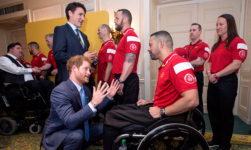 Prince Harry and Justin Trudeau had the pleasure of meeting with members of Canada's Invictus Games team prior to the official launch ceremony at the Royal York Hotel. <br>Photo: © Nathan Denette/CP