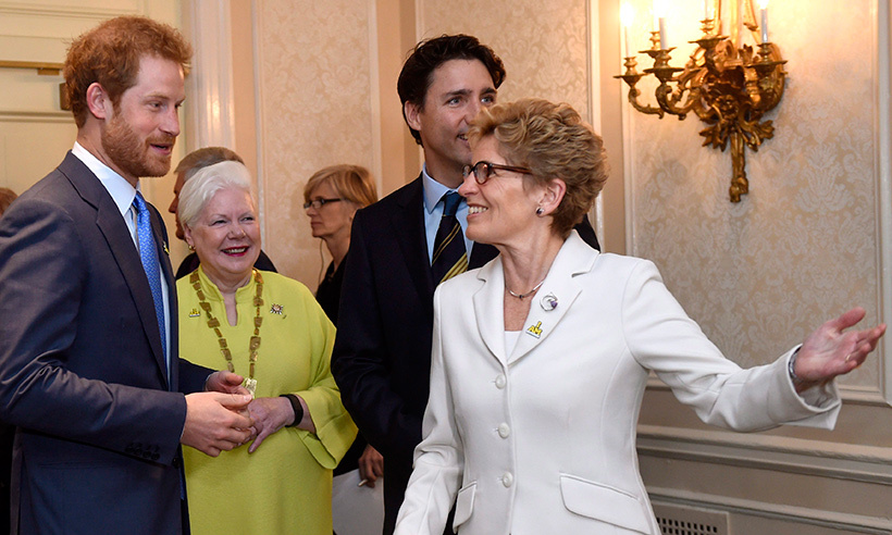 Ontario's premiere Kathleen Wynne was one of many dignitaries to welcome the prince to Canada.<br>Photo: © Nathan Denette/CP