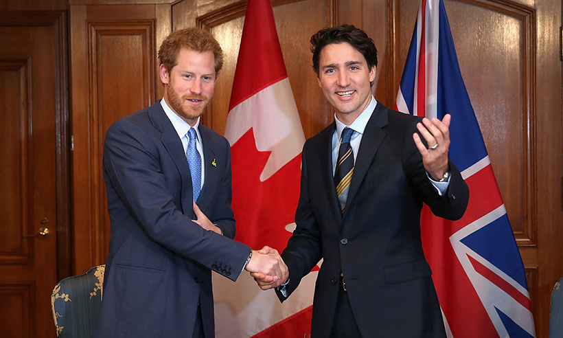 Prime Minister Justin Trudeau welcomes Prince Harry to Toronto.<br>Photo: © Chris Jackson/Getty Images