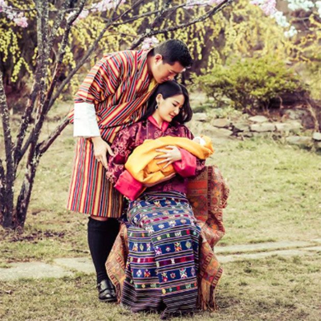 King Jigme and Queen Jetsun pictured with their tiny baby boy. 