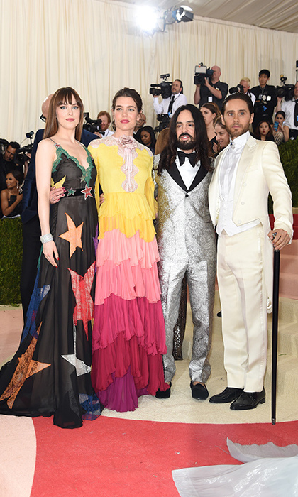 Dakota Johnson, Charlotte Casiraghi, Gucci's Alessandro Michele and Jared Leto walked the red carpet as a team. 
