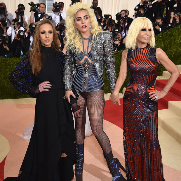 Allegra Versace, Lady Gaga & Donatella Versace 