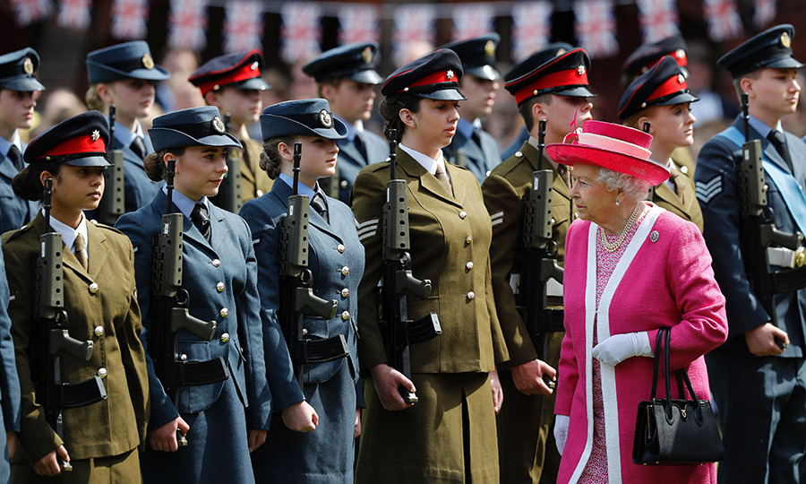 The monarch inspected the school's Combined Cadet Force Guard of Honour.