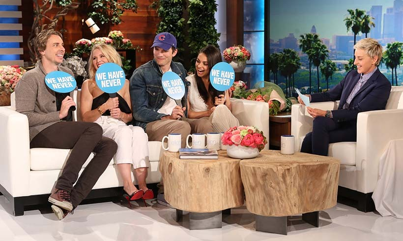 Ellen DeGeneres made married couples Dax Shepard and Kristen Bell and Ashton Kutcher and Mila Kunis divulge some racy secrets during a game of 'Never Have We Ever' on her hit daytime talk show. 