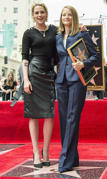 After five decades in show business, Jodie Foster (seen here with Kristen Stewart) finally received a star on Hollywood's Walk of Fame. 