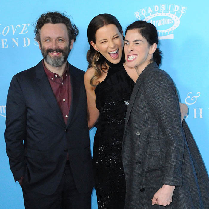 Kate Beckinsale received some support from former longtime love Michael Sheen and his girlfriend Sarah Silverman at the Los Angeles premiere of her new project <i>Love & Friendship</i>.