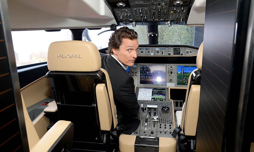 Don't worry ... Matthew McConaughey is not giving up Hollywood for the skies. Here, the actor plays pilot while attending the Bombardier Business Aircraft showcase in Beverly Hills. 