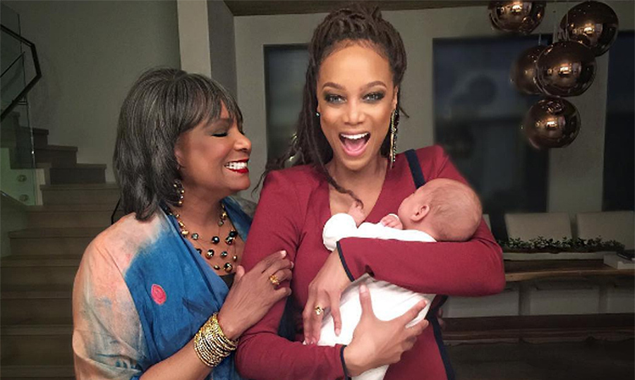 Tyra Banks was celebrating her first Mother's Day, having given birth to her son York in February.