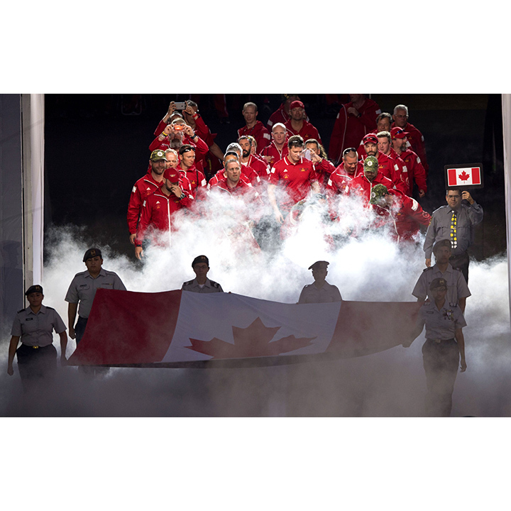 Team Canada enters the arena. 
