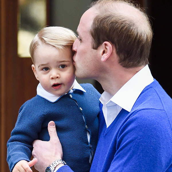 George pictured just before meeting his sister Princess Charlotte in hospital.