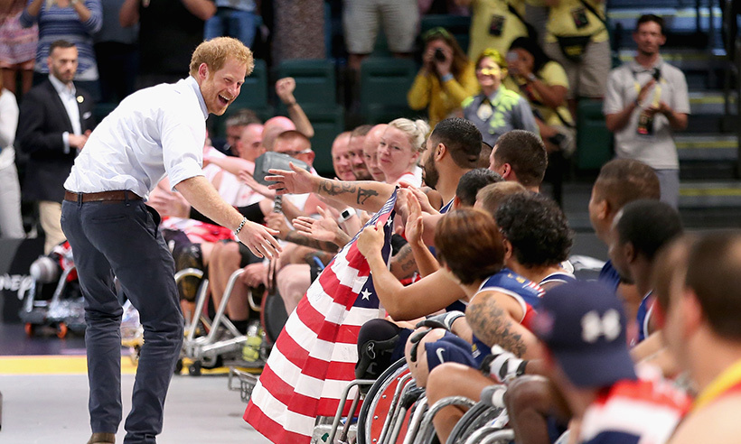 Throughout the games, Harry has been cheering on competitors and hyping up the crowd. 