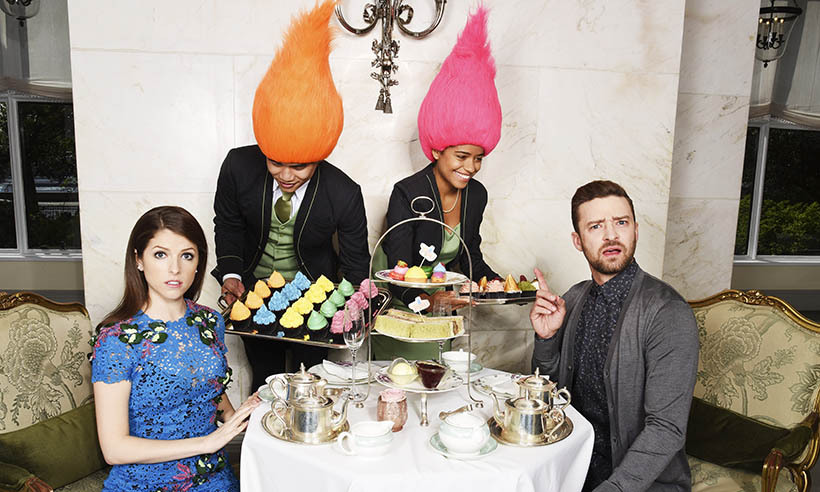 <i>Trolls</i> stars Anna Kendrick and Justin Timberlake know that the perfect way to relax after a busy day of interviews is a little high tea at London's Savoy hotel. 