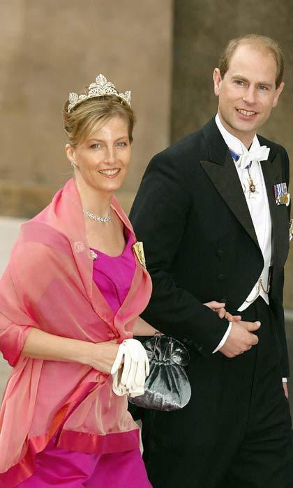 Representing the British royal family, the Count and Countess of Wessex traveled to Copenhagen for the Danish nuptials. Prince Edward's wife looked stunning in a floor-length magenta gown accessorized with a shimmering coral shawl.