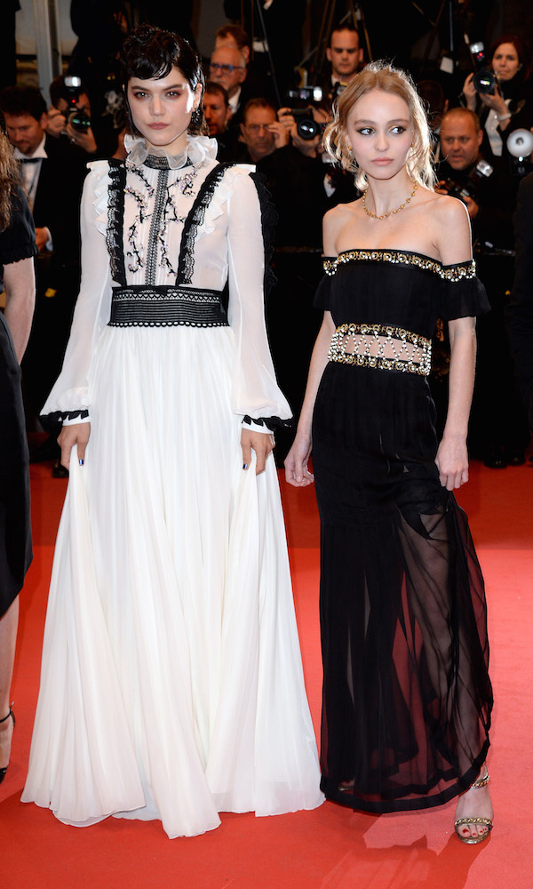 Soko in Giambattista Valli and Lily-Rose Depp in Chanel