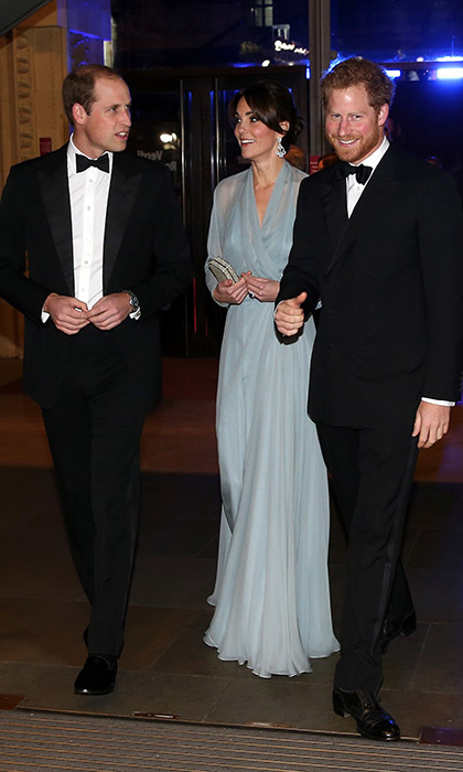 Off to the cinema! Kate had two very handsome escorts to the 2015 premiere of the 24th James Bond adventure <i>Spectre</i> at the Royal Albert Hall in London. 