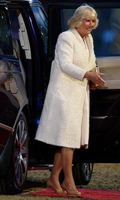 The Duchess of Cornwall looked elegant in a white ensemble.