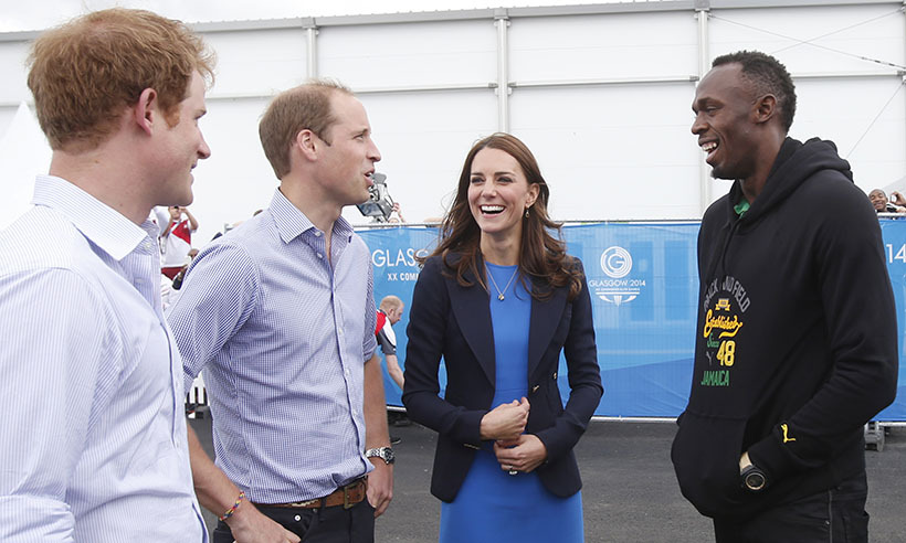 Catching up with Usain Bolt during a visit to the Commonwealth Games Village in Scotland. 