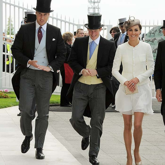 A day at the races is one social event Prince William, Prince Harry and Kate hardly ever miss. The royal brothers put on their top hats to attend Derby Day at Epsom Downs Racecourse in 2011. 
