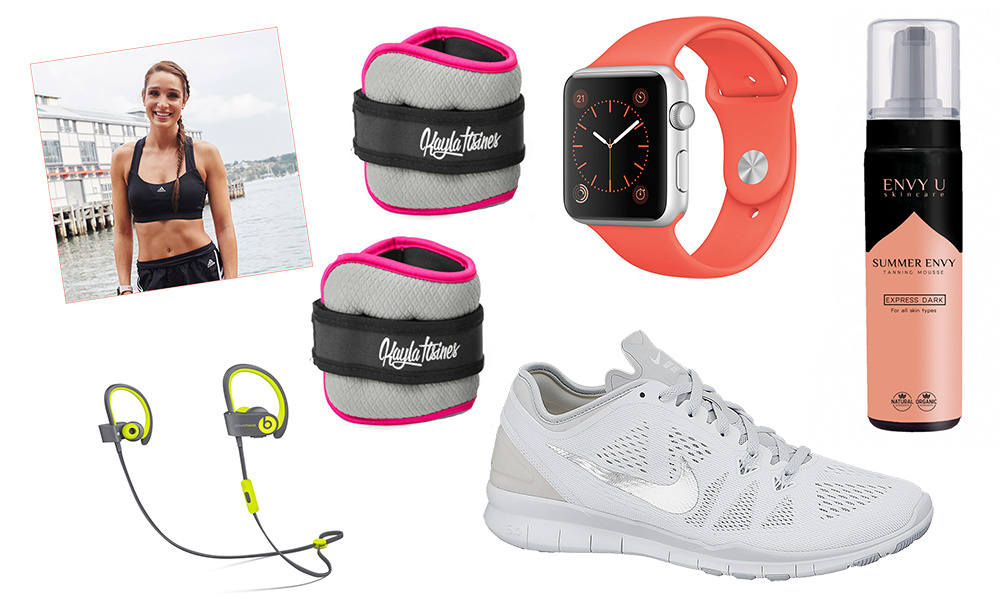From crisp white trainers to wireless headphones and ankle weights, these workout must-haves will help take your routine to the next level! Click through to see what Instagram fitness star Kayla Itsines always packs for the gym...