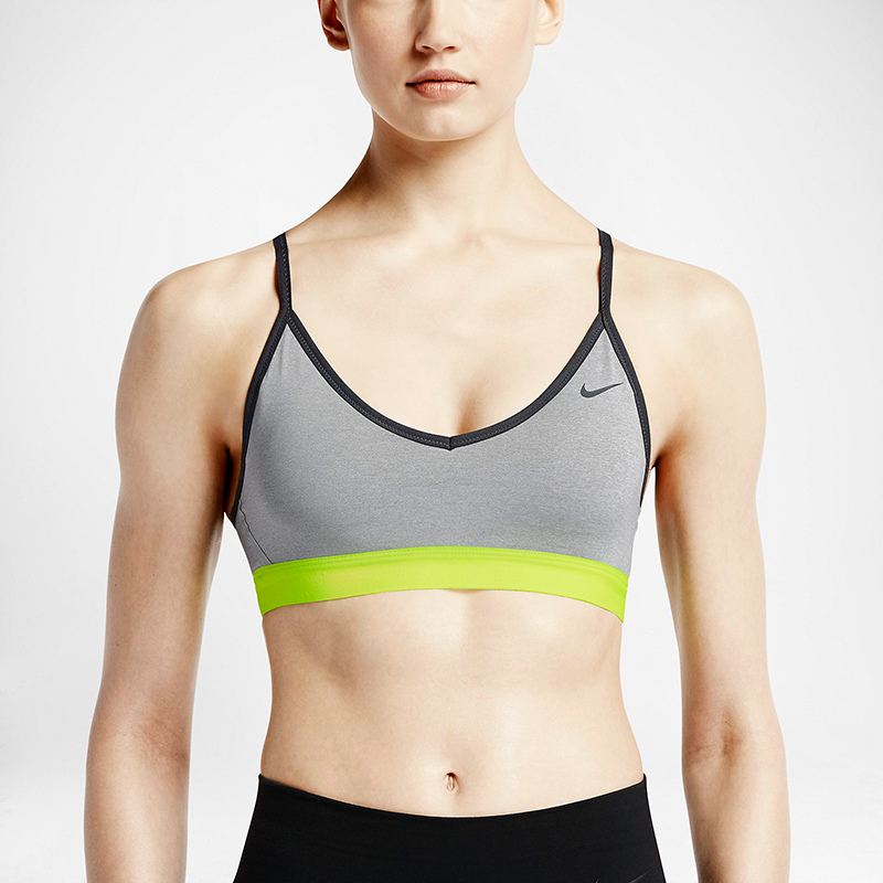 <strong>Nike Pro Indy in Dark Grey Heather/Cool Grey/Volt/Cool Grey</strong>, $55, nike.com