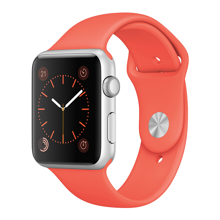 <strong>Apple Sport Watch 38mm Silver Aluminum Case with Apricot Sport Band</strong>, $399, apple.com