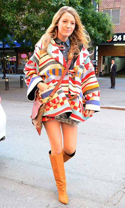 The star isn't afraid to add a pop of color to her maternity wardrobe, which she demonstrated when she stepped out in this multi-colored jacket while hitting the streets of New York City in 2014.