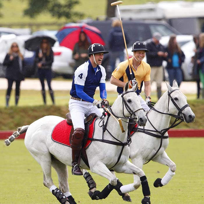 Princes William and Harry have come a long way from riding ponies around the grounds of their family home. Both royals love to show off their equestrian skills during Polo matches. 