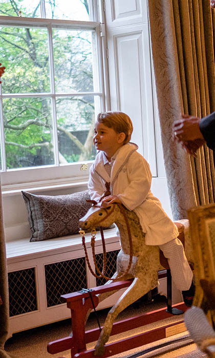 Prince George, 2, is said to be taking to riding like a 'duck to water' after his parents put him on his first pony late last year. 