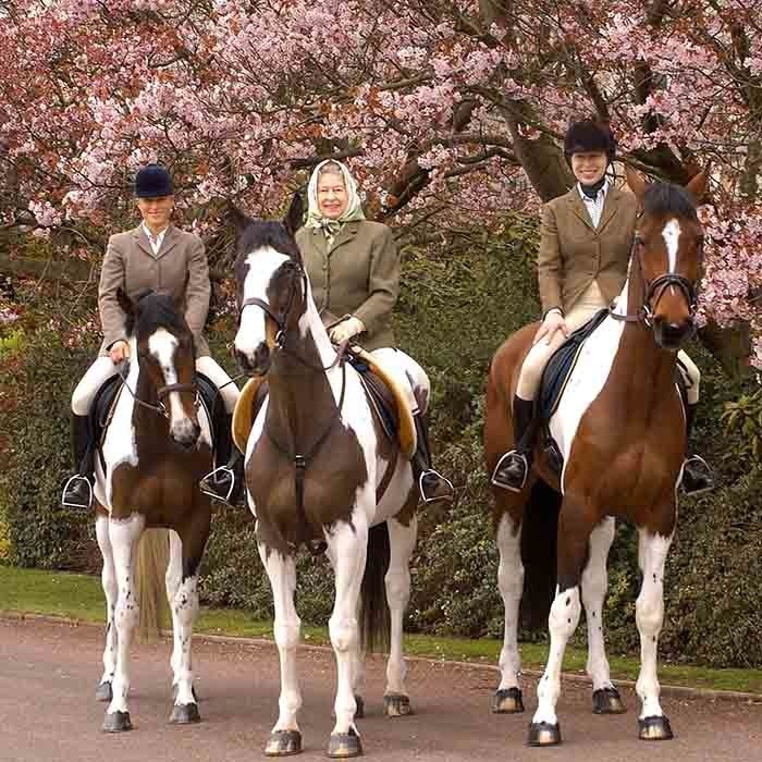 Three generations of royal women, Zara Tindall, the Queen and Princess Anne, trot around Windsor Castle over Easter weekend in 2004. 