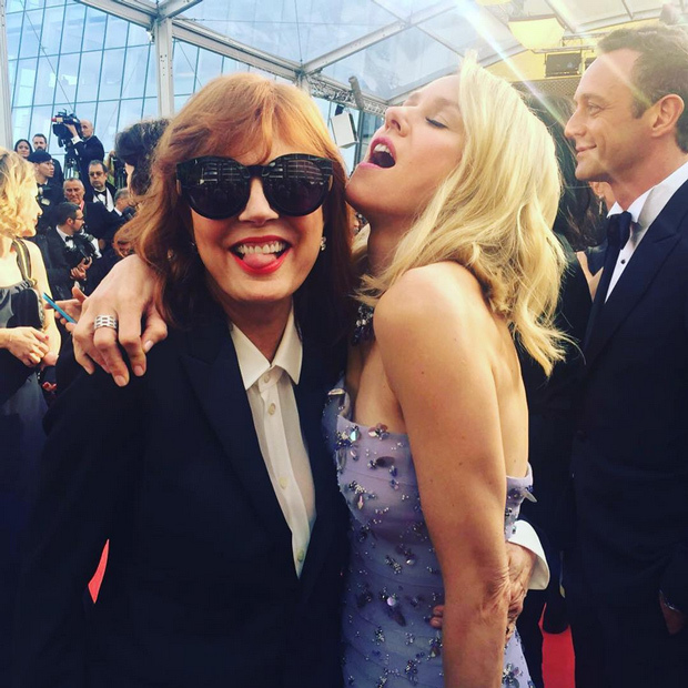 Susan Sarandon (@susansarandon) shared a goofy snap with Naomi Watts from the opening-night red carpet for Woody Allen's <em>Cafe Society</em>.