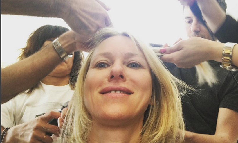 Big primping! Naomi Watts (@naomiwatts) gave a glimpse of how many hands are required to style her hair. The answer? Eight by our count!