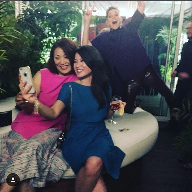 Marion Cotillard (@marioncotillard) is surely thanking Delpozo for the party-chic yet comfortable purple top that allowed her to engage in this epic photobomb.
