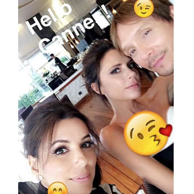 Eva Longoria (@evalongoria) shared a photo with pals Victoria Beckham and hairstylist Ken Paves.