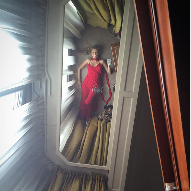 "Blake Lively (@blakelively) captioned this disorienting snap, ""Unsuccessfully hiding to get some shut eye, when I opened my eyes to this Vertigo."""
