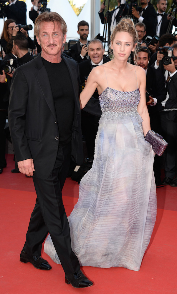 Dylan Penn (with dad Sean Penn) in Armani Prive